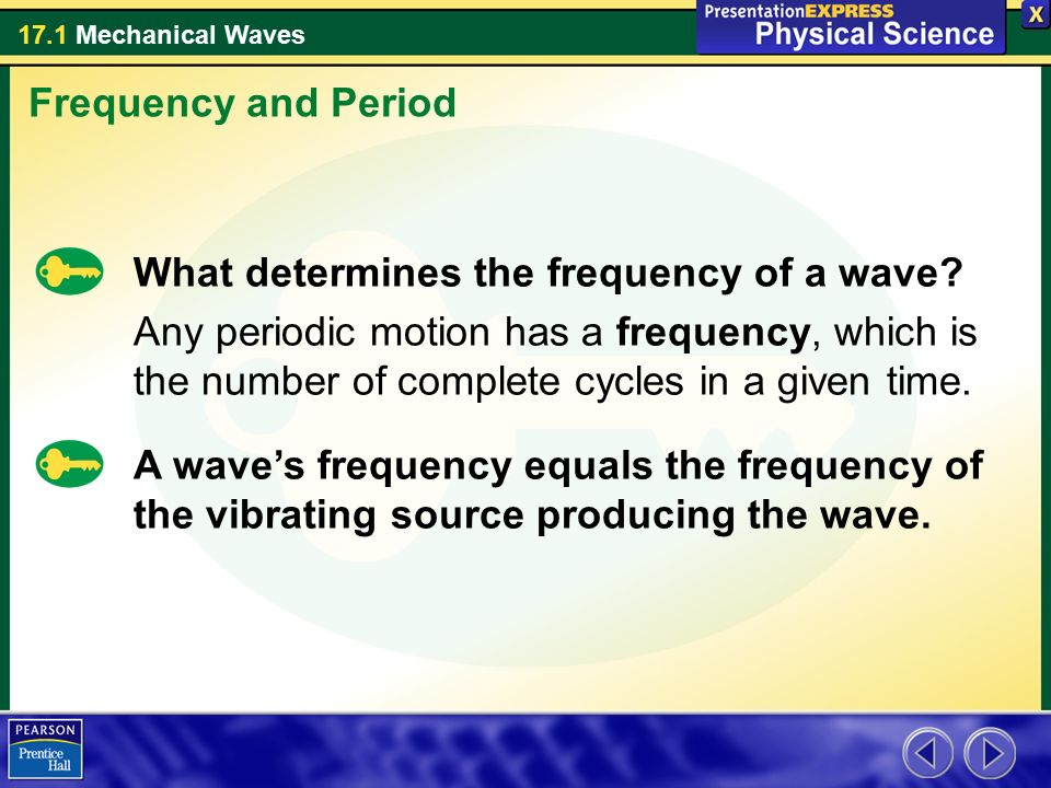 Frequency and Period What determines the frequency of a wave