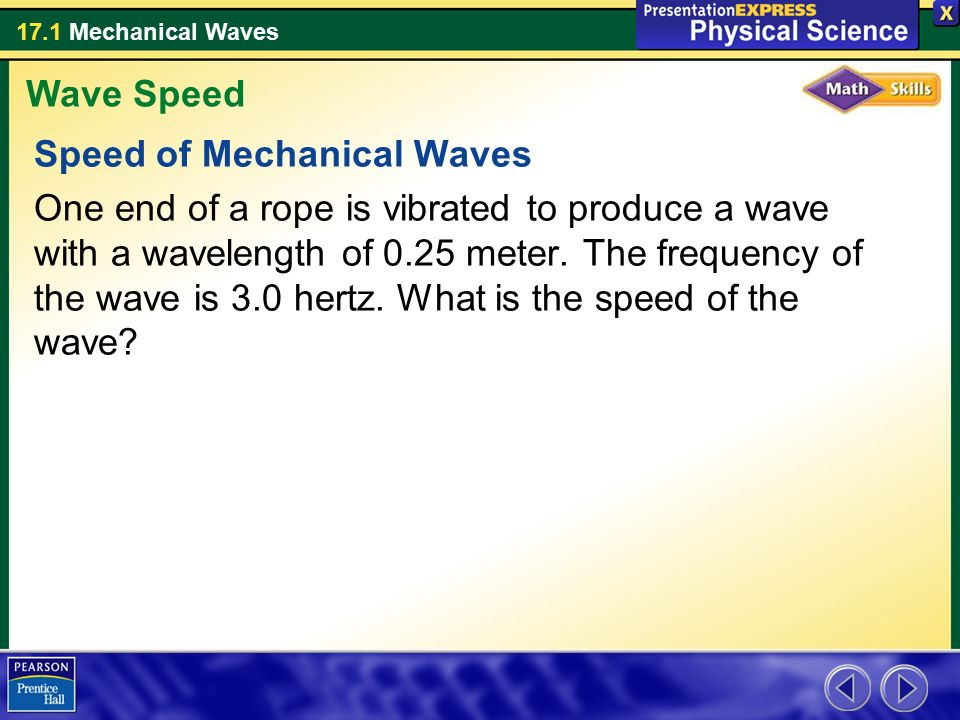 Wave Speed Speed of Mechanical Waves.