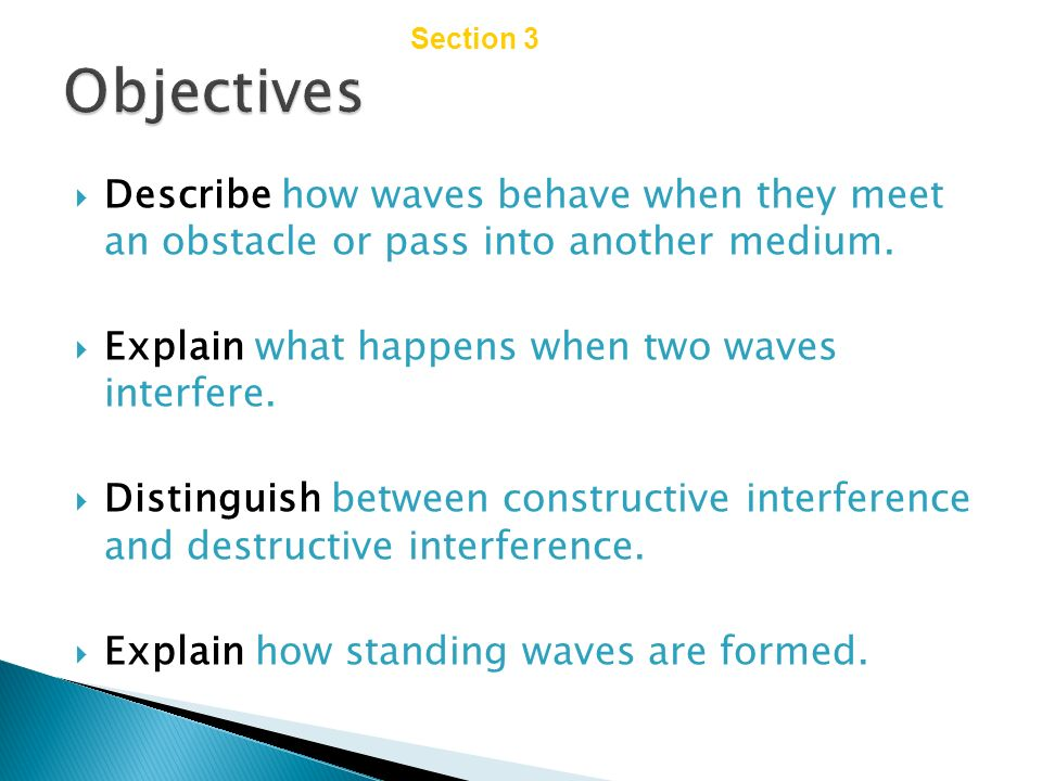 Chapter 14 Section 3 Wave Interactions. Objectives. Describe how waves behave when they meet an obstacle or pass into another medium.