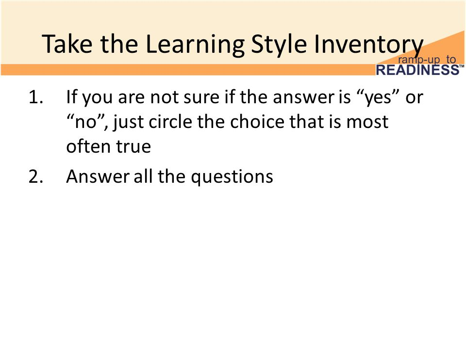 Take the Learning Style Inventory - ppt download