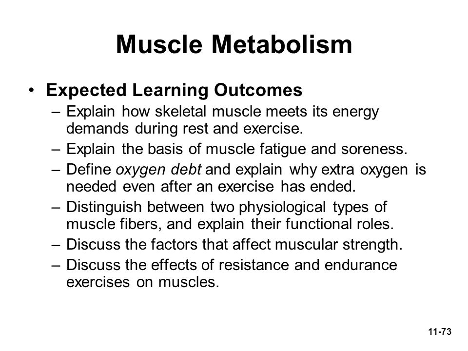 Muscle Metabolism Expected Learning Outcomes