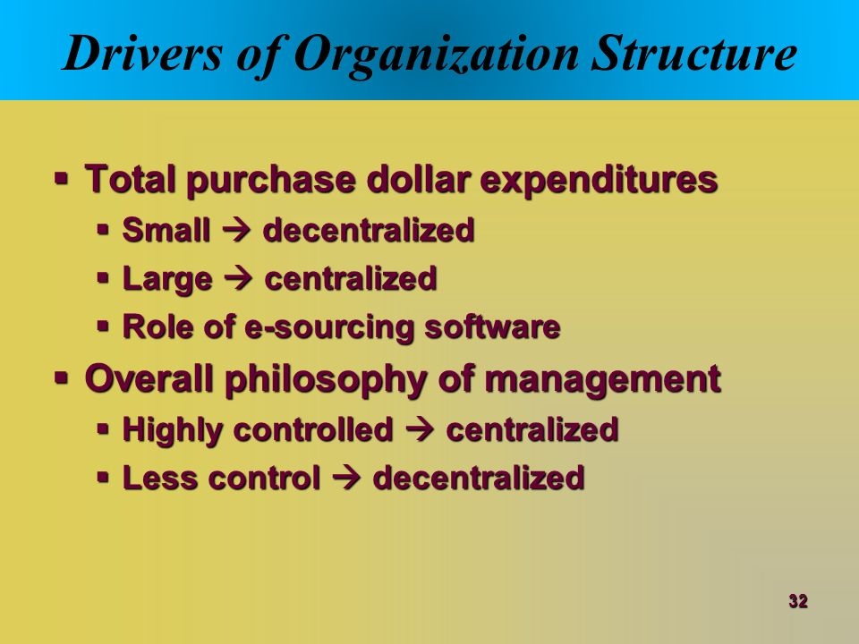 centralized vs decentralized purchasing authority Cost estimates of the savings achieved though centralized purchasing have been  presented in  given the authority and support  mccue, c, pitzer, j, (2000),  centralized vs decentralized purchasing: current trends in governmental.