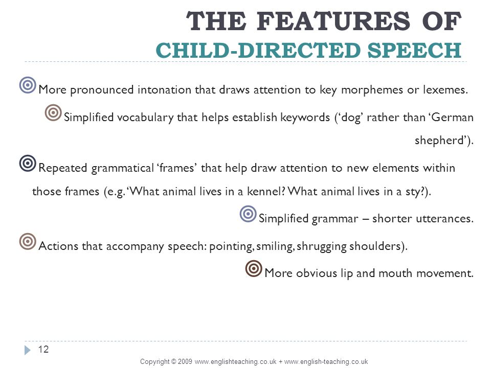 the universality of infant direct speech Online grammar check: basic english grammar test - direct & indirect speech check your english grammar skills english grammar test questions and answers.