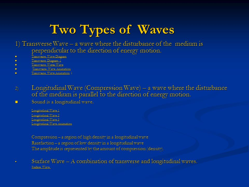 Two Types of Waves 1) Transverse Wave – a wave where the disturbance of the medium is perpendicular to the direction of energy motion.