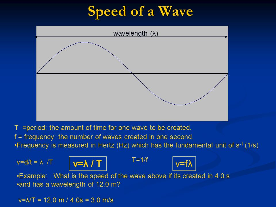 Speed of a Wave v=λ / T v=fλ wavelength (λ)