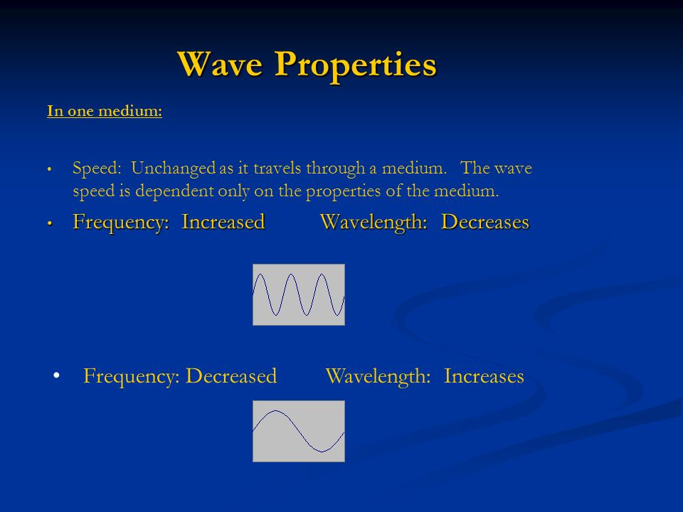 Wave Properties Frequency: Increased Wavelength: Decreases