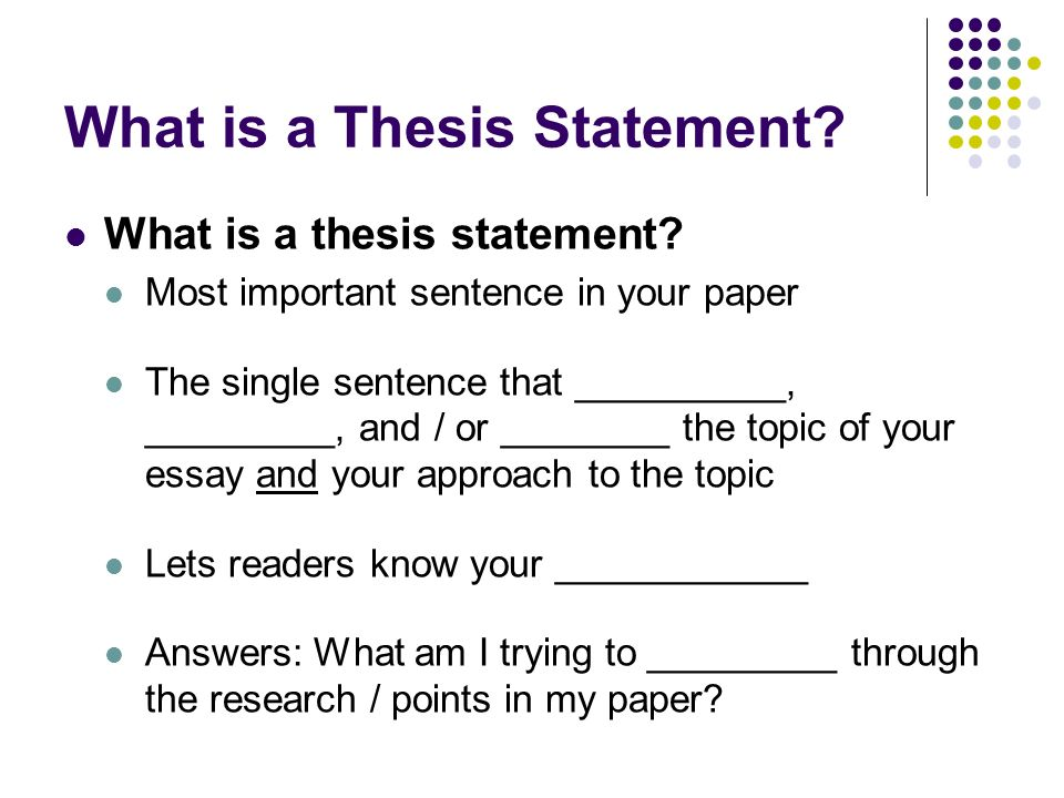 thesis statement meaning in essay Thesis statement: definition: the thesis statement is the most important sentence in your essay it is the main idea for the whole essay  it is frequently shows (directly, indirectly) the number and the content of the body paragraphs of the essay .