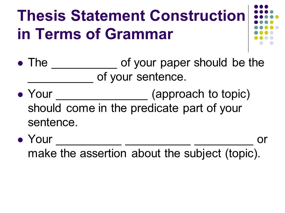 thesis in grammar