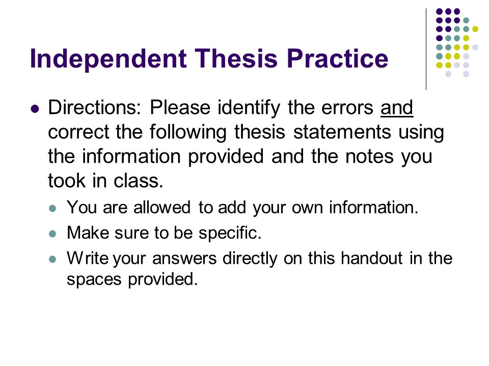 Thesis writing practice guide ppt
