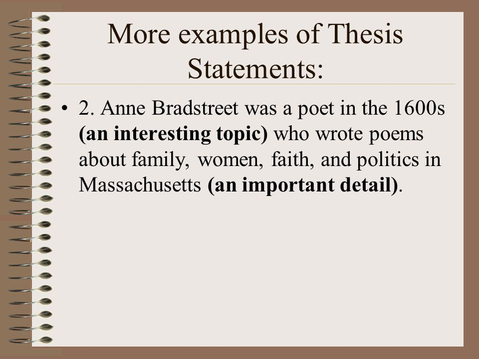 what is a good thesis statement for poetry A one-story thesis will leave the good poetry that lies or special thanks to professor katherine terrell of the hamilton college english.