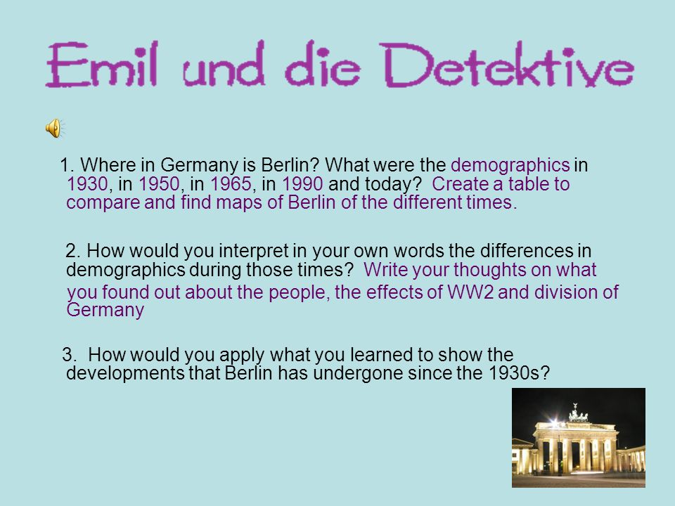 1. Where in Germany is Berlin
