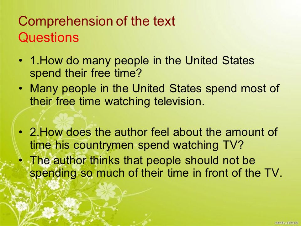Comprehension of the text Questions
