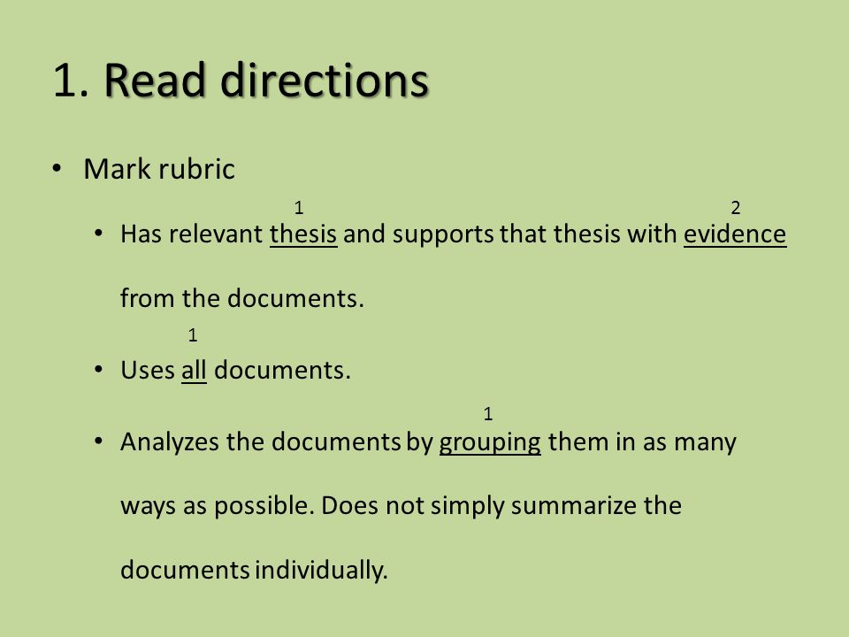 dbq essay directions Please staple this to the front of your essay teachers comments: directions: the following document based question 8th grade example on friday, september 16.
