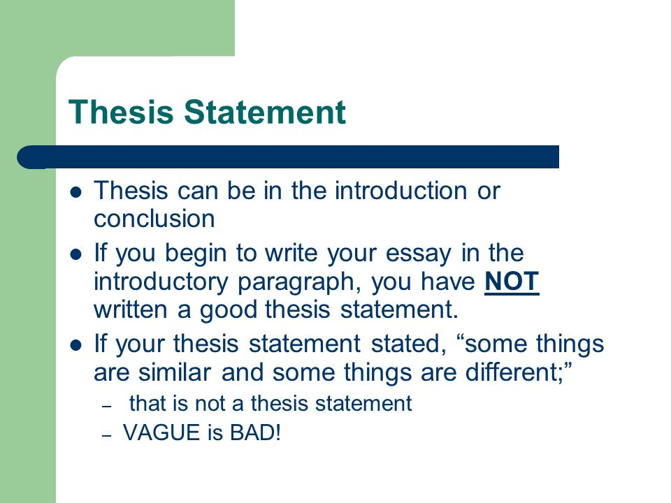 Thesis Statement Builder