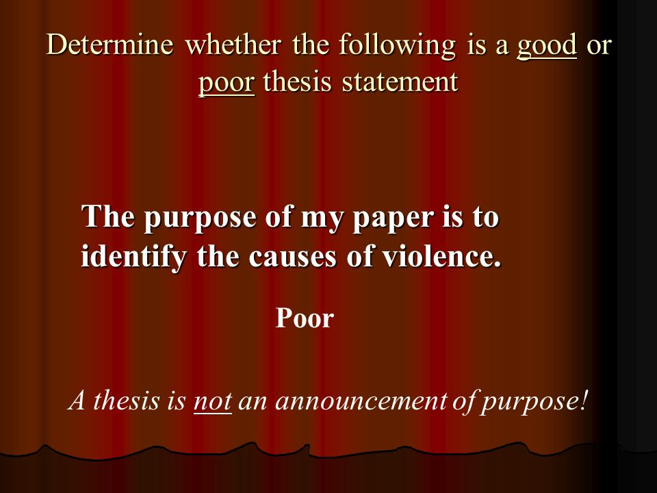 what is not true about a thesis statement