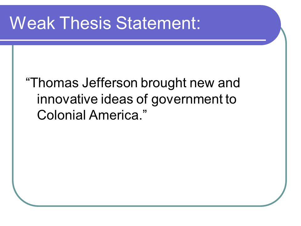 Construct a working thesis statement