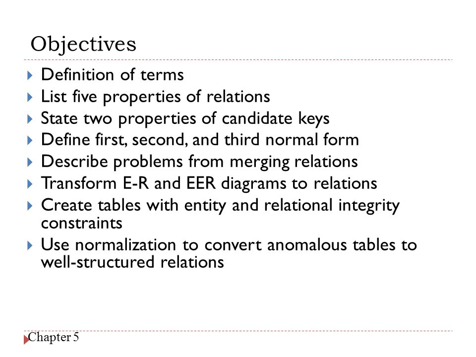 Objectives Definition of terms List five properties of relations