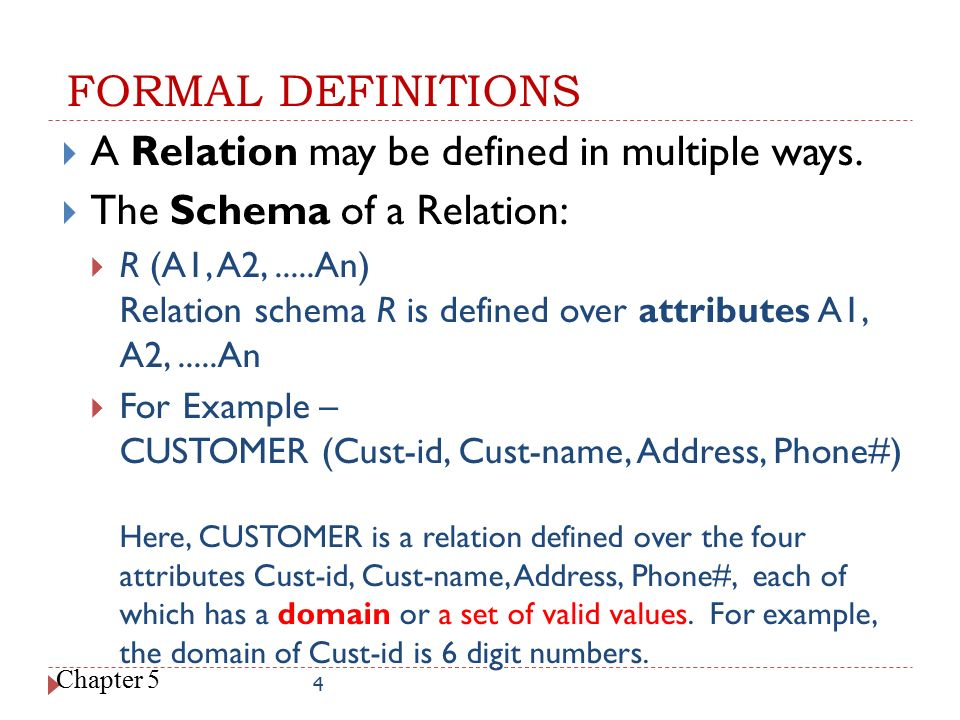 FORMAL DEFINITIONS A Relation may be defined in multiple ways.