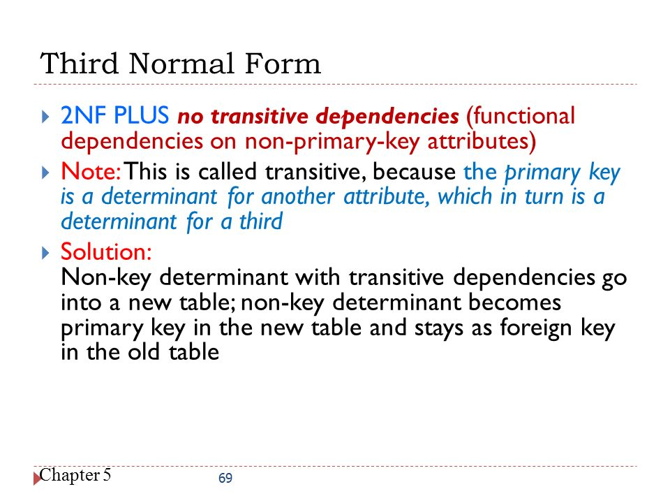 Third Normal Form 2NF PLUS no transitive dependencies (functional dependencies on non-primary-key attributes)