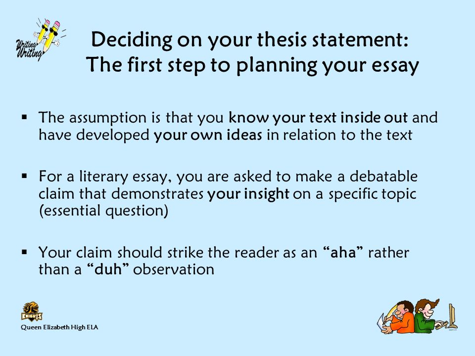 thesis statement steps A thesis statement is the main point that the content of your essay will support it is an contestable assertion , usually made in one or two sentences, that makes a clear argument about your research topic.