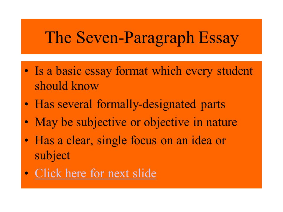 seven essay What exactly is an essay types of essays supporting your thesis the seven  support techniques grammar the structure of the essay impressing your.