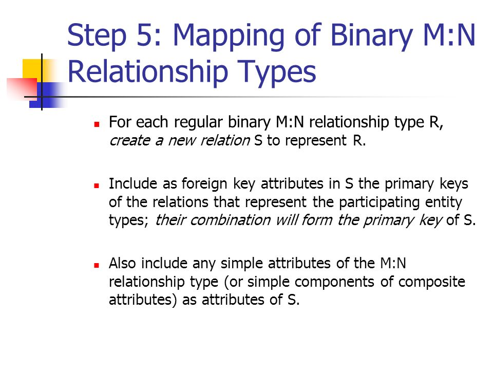 Step 5: Mapping of Binary M:N Relationship Types