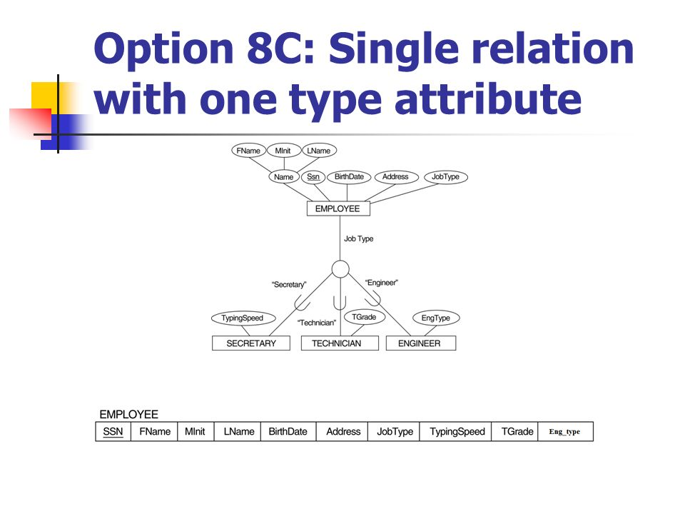Option 8C: Single relation with one type attribute