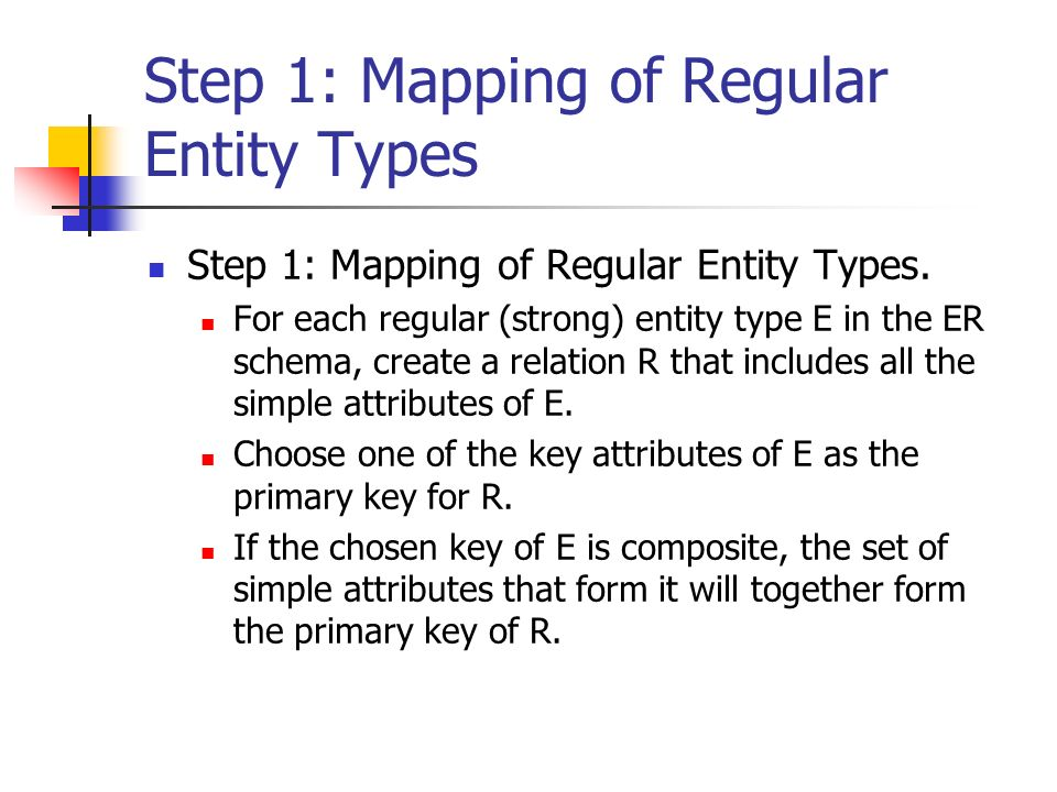 Step 1: Mapping of Regular Entity Types