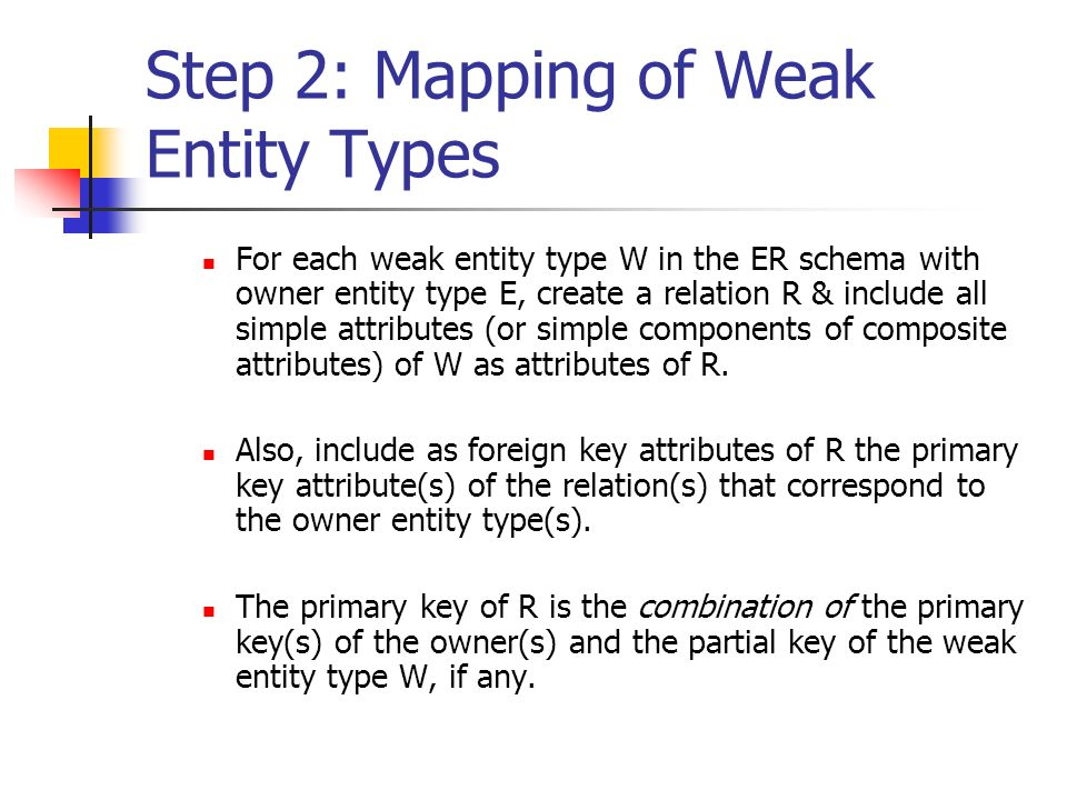 Step 2: Mapping of Weak Entity Types