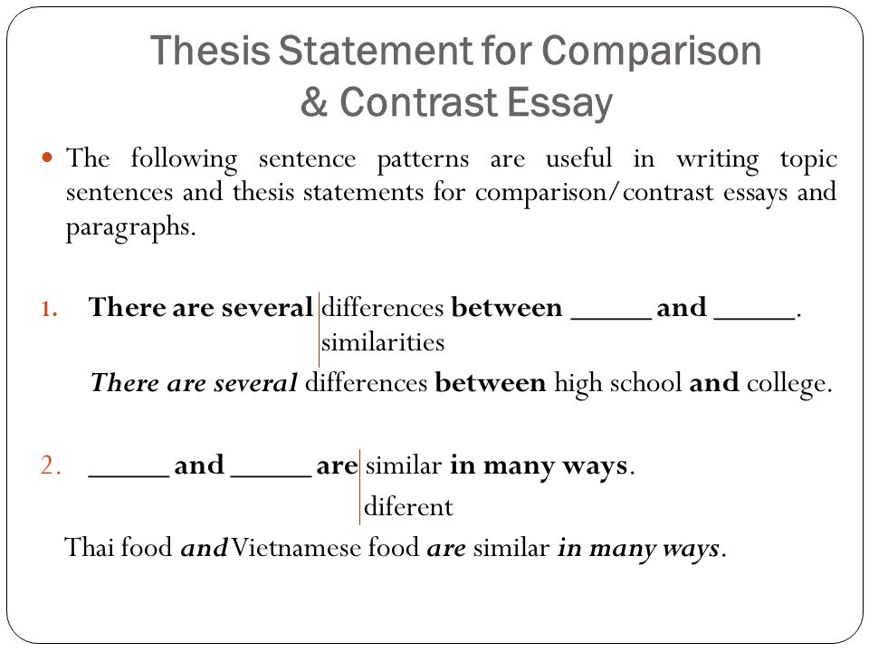 Comparison and contrast thesis sentence