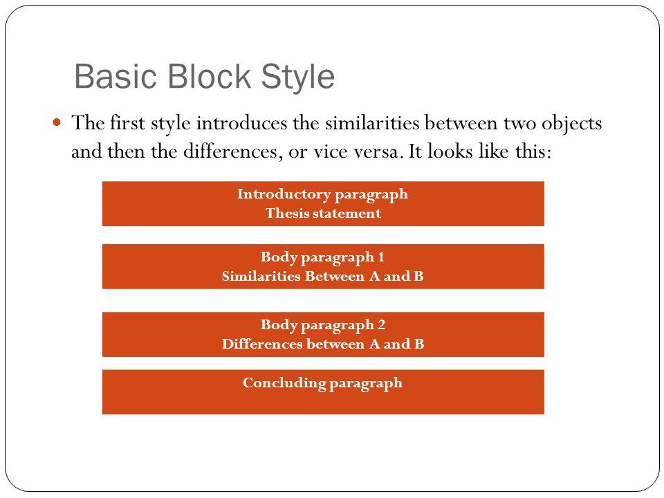 Block-style comparison essay