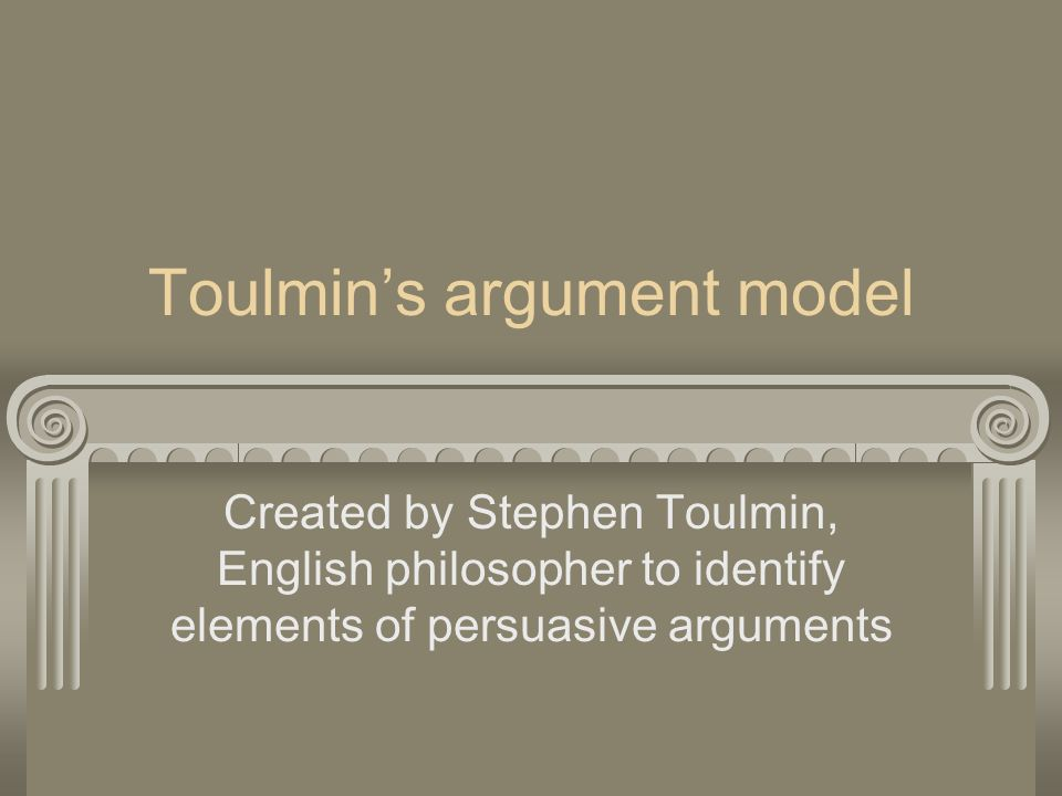 toulmin argument essay outline Toulmin model – classical argumentation 1 claim: an explicit statement that firmly claims what side of an issue the author will take/argue.