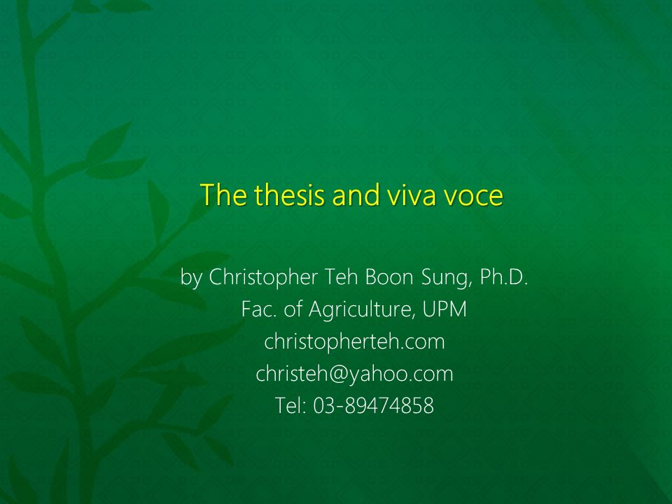 what is a thesis viva Submit your thesis in double spacing for ease of corrections by the viva committee, but in final form, your thesis must be prepared in single spacing and printed on both sides of paper but in double spacing for between paragraphs and sections.