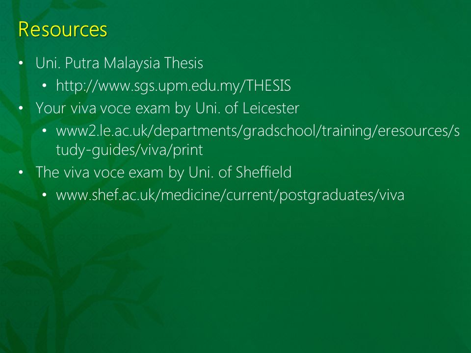 thesis viva uk Prior to viva and thesis submission between twelve and three months prior to your viva, your director of studies must submit an ex1 form to the faculty research.