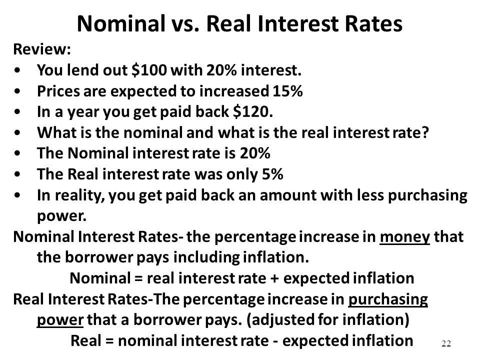 Converting Nominal Interest Rates to Real Interest Rates