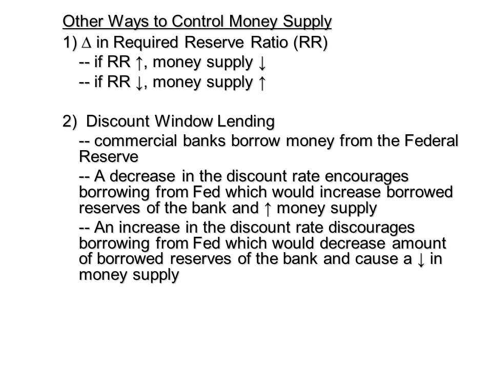 Other Ways to Control Money Supply