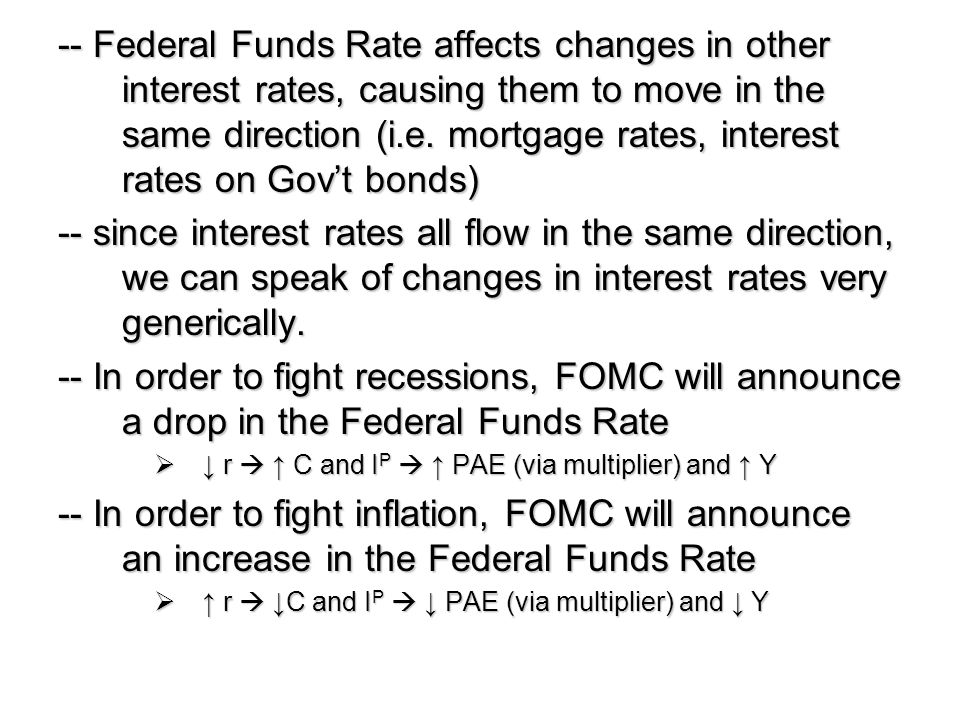 -- Federal Funds Rate affects changes in other interest rates, causing them to move in the same direction (i.e. mortgage rates, interest rates on Gov't bonds)
