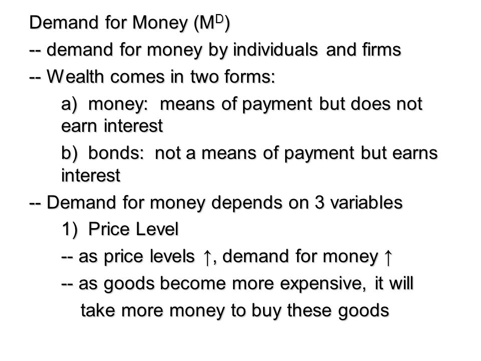 Demand for Money (MD) -- demand for money by individuals and firms. -- Wealth comes in two forms: