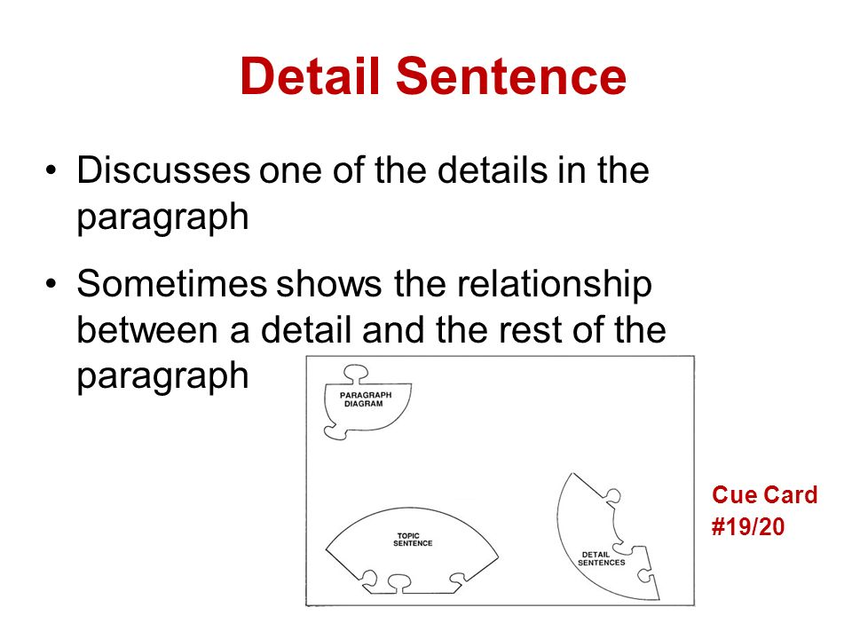 examples of detail paragraph Paragraphs: the main part of the essay: structure and linking  used, and  practised (examples are 'furthermore', 'moreover', 'in addition', 'to qualify the   some of the sentences lack detail or are a little ambiguous, and at times there is  a lack.