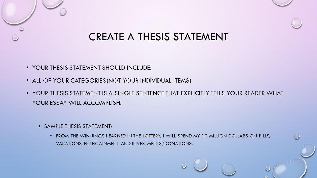 what should a thesis statement contain What should a good thesis statement contain a good thesis is not merely a factual statement, an observation, a personal your reader should never encounter a list of.