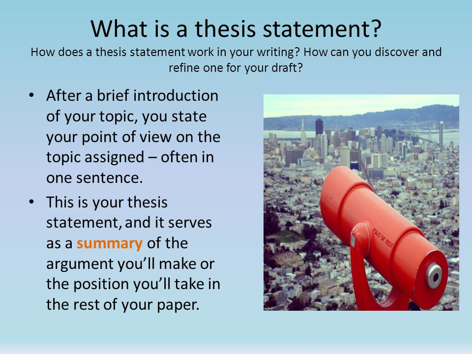 point of a thesis The easiest type of thesis to write is the three-part thesis the standard american-style essay has five paragraphs: 1 introduction, 3 body paragraphs (that present 3 different pieces of evidence), and 1 conclusion a three-part thesis statement is easy because you simply list your three main pieces of evidence.