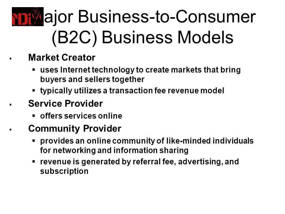 business models for electronic markets Source: business models for electronic markets by paul timmers in electronic markets, vol 8, no 2, july 1998 new business models for e-commerce another early effort by dennis viehland identified three new or emerging business models that are made possible by the web: virtual retailer, distributed storefront, and buyer-led pricing.