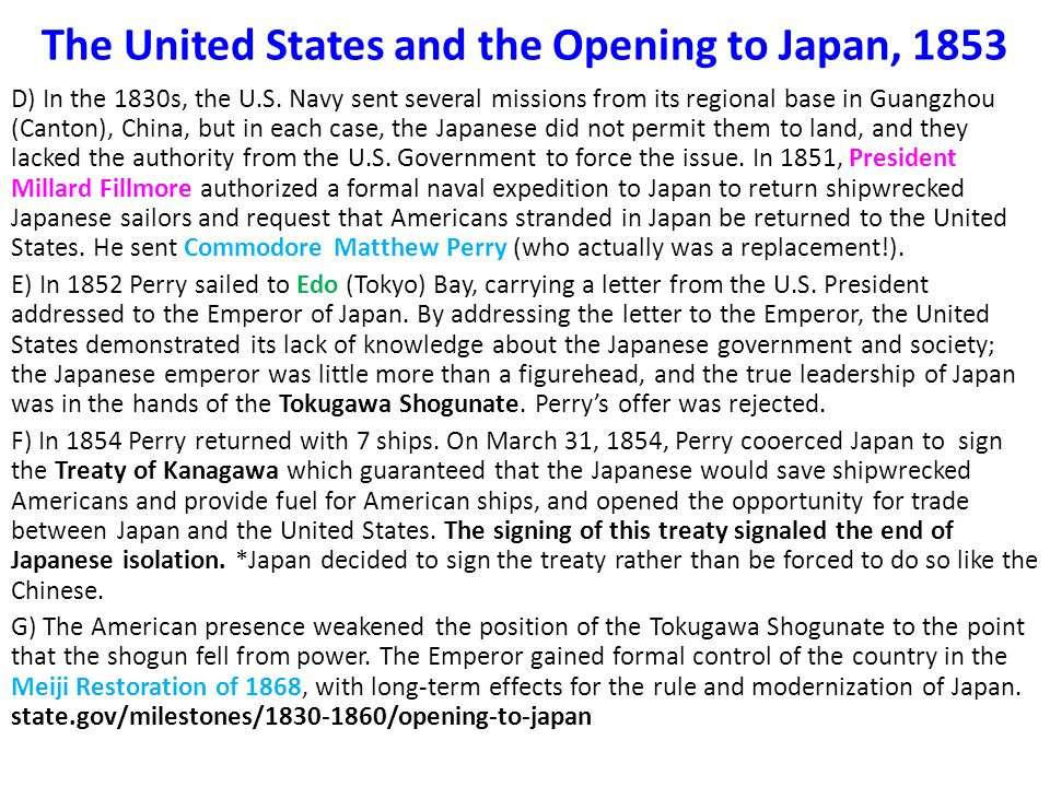 a history of the kanagawa treaty between the united states and japan Summary and definition of the treaty of kanagawa definition and summary: the treaty of kanagawa was the first treaty between japan and the united states that was signed by commodore matthew perry and shogunate representatives of the japanese government on march 31, 1854.