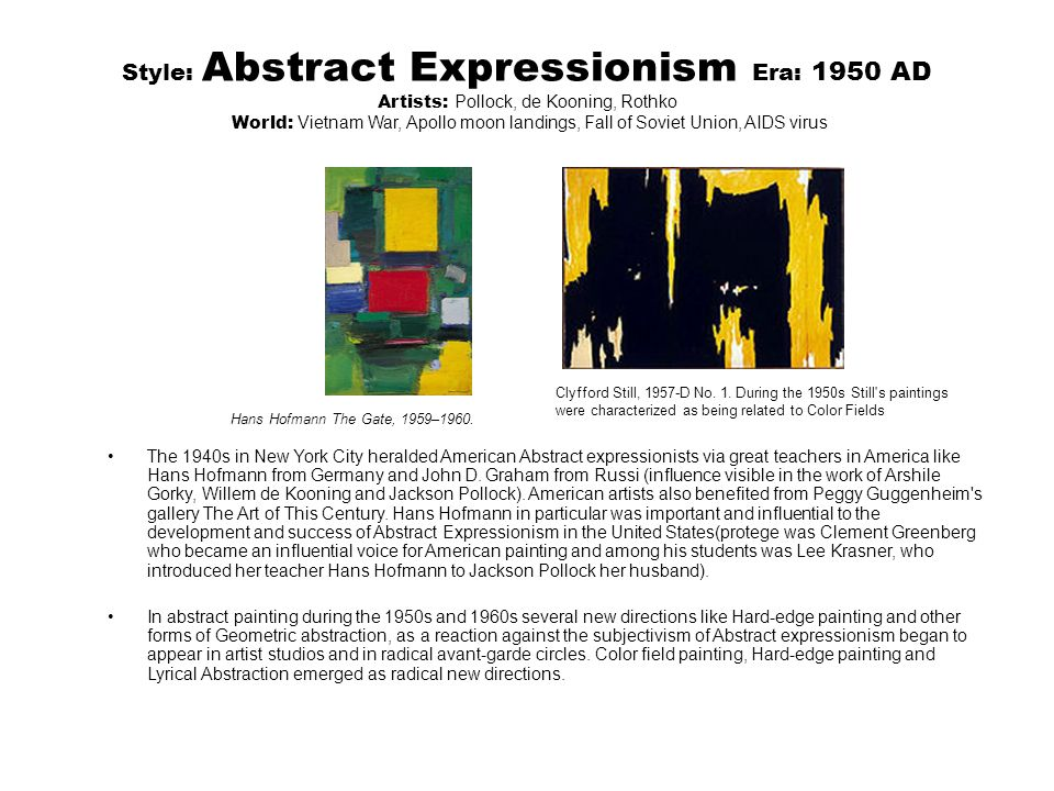 clement greenberg essay abstract expressionism Art and culture: critical essays [clement clement greenberg applying it to styles from cubism to abstract expressionism to color field painting should.