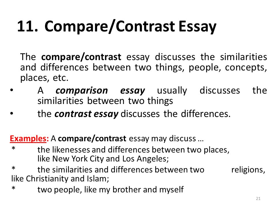 Compare contrast 3 things essay
