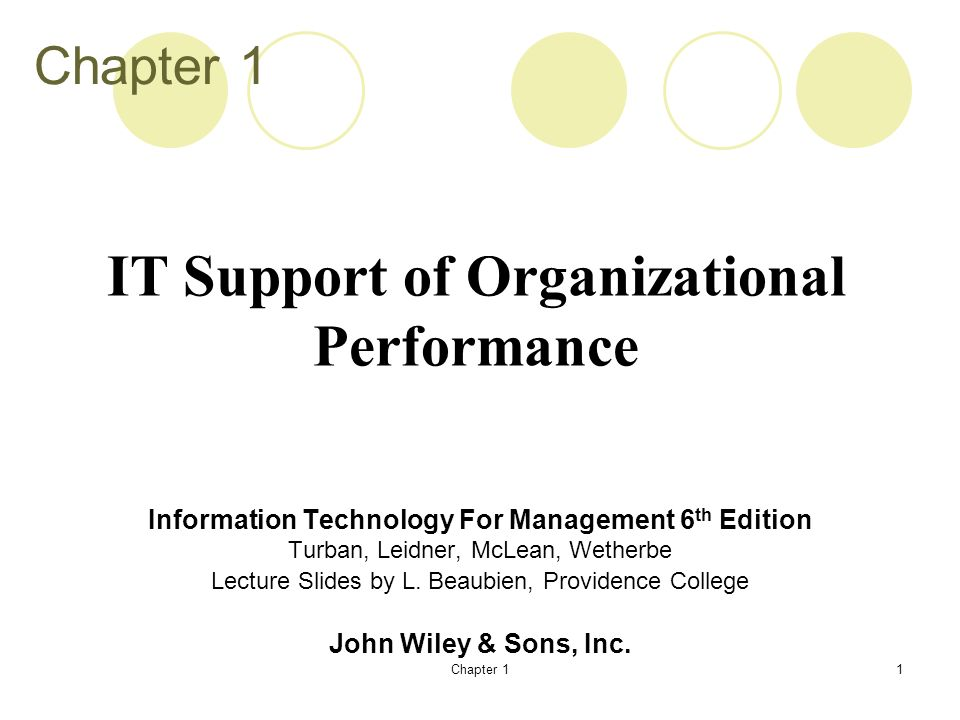 IT Support of Organizational Performance