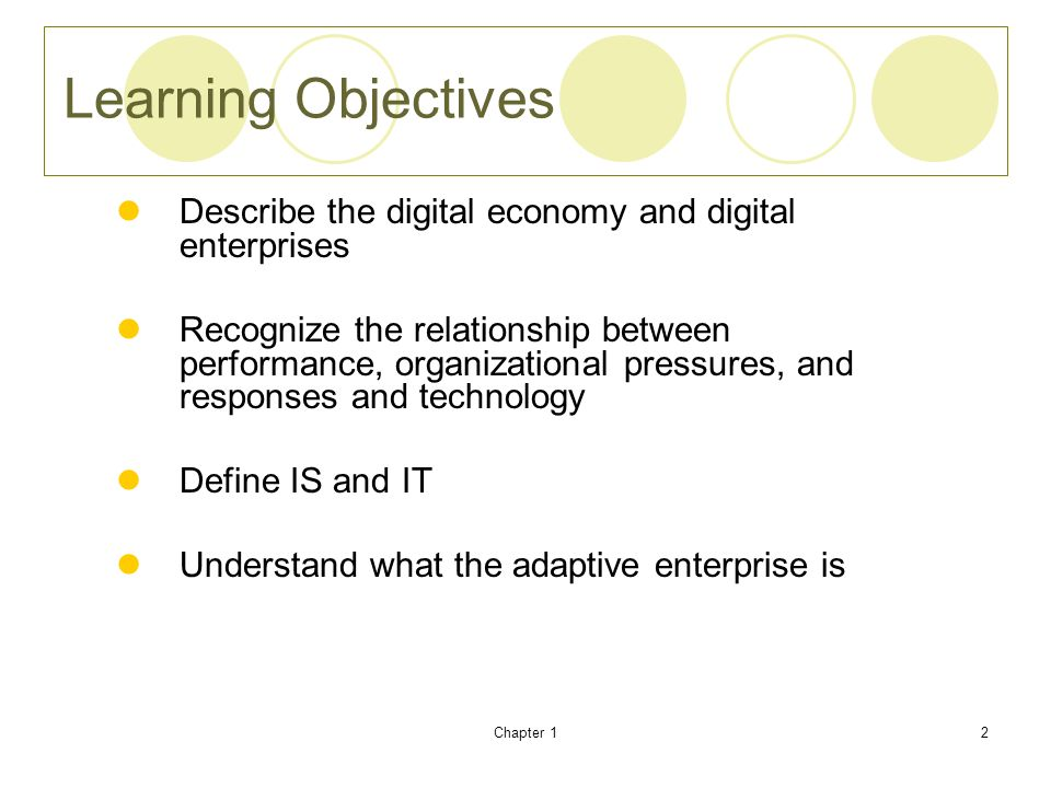 Learning Objectives Describe the digital economy and digital enterprises.