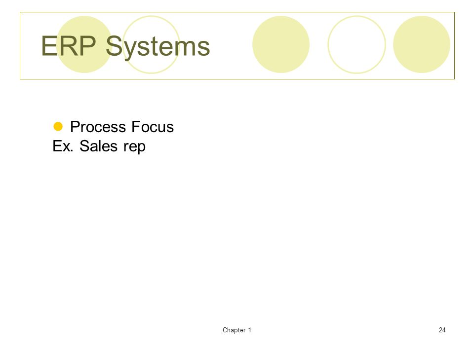 ERP Systems Process Focus Ex. Sales rep Chapter 1