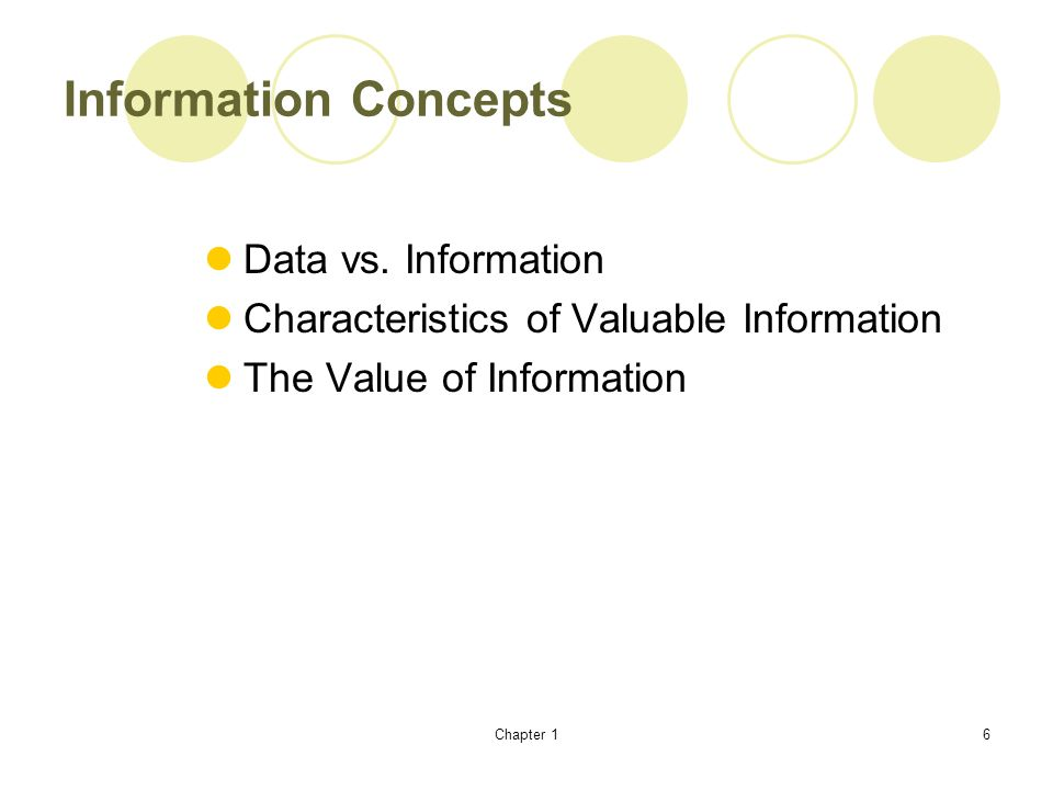 Information Concepts Data vs. Information