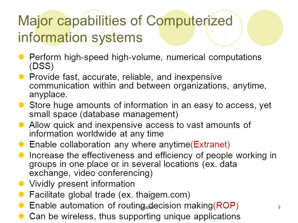 Major capabilities of Computerized information systems
